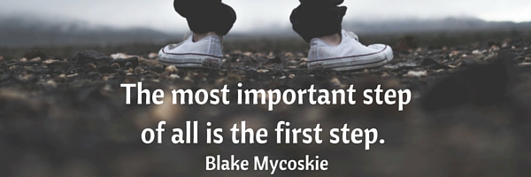 the most important step is the first step - feet about to walk