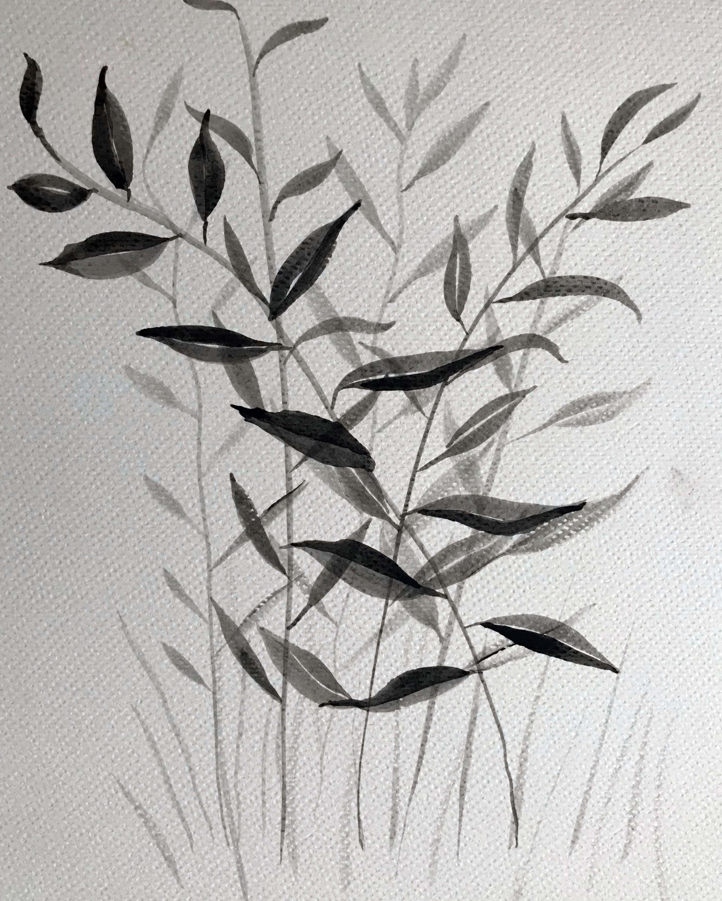 watercolour leaves shades of grey