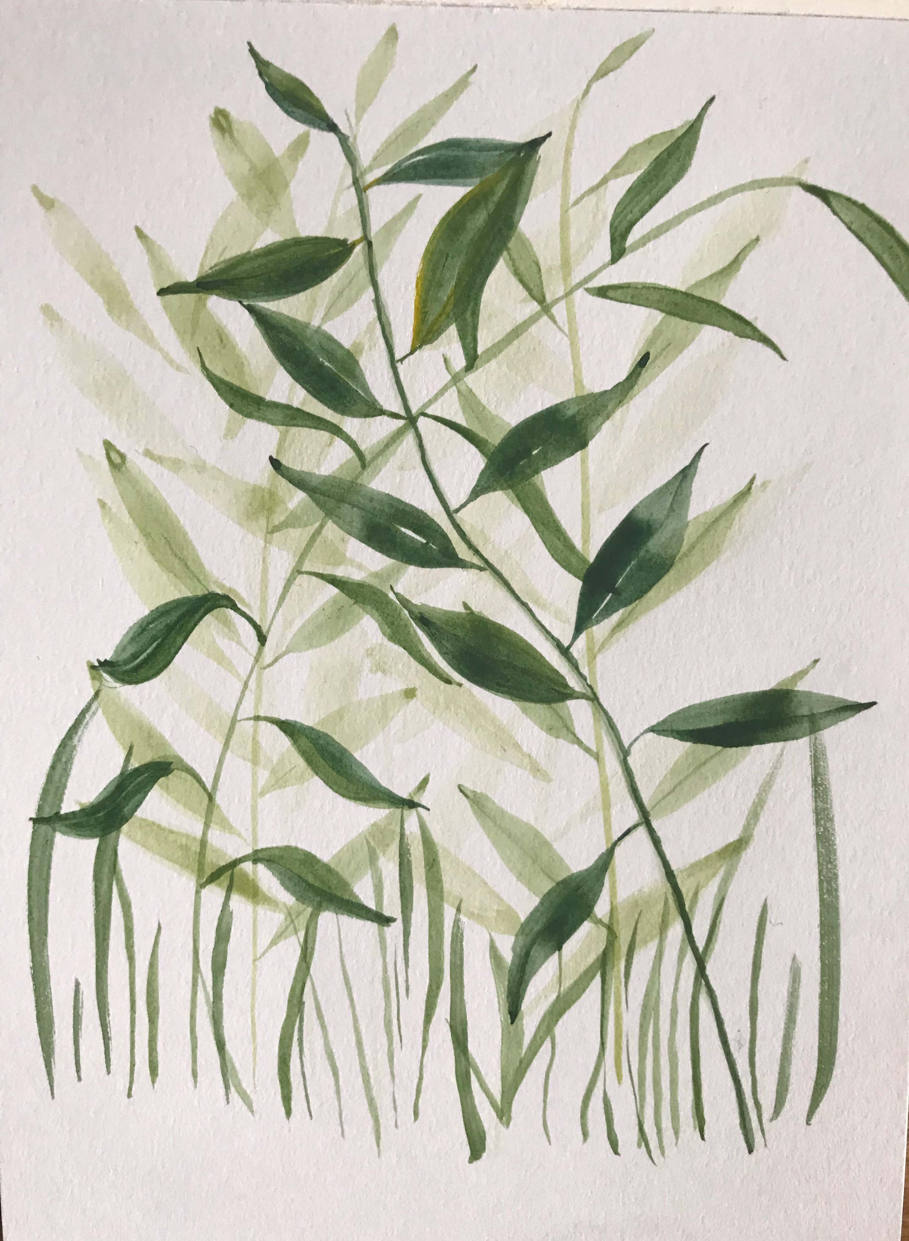 watercolour leaves shades of green