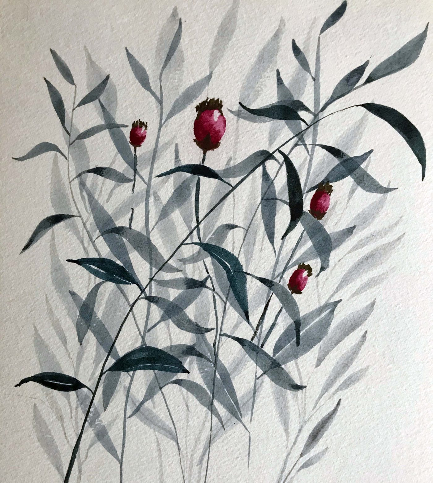 watercolour leaves shades of grey with berries