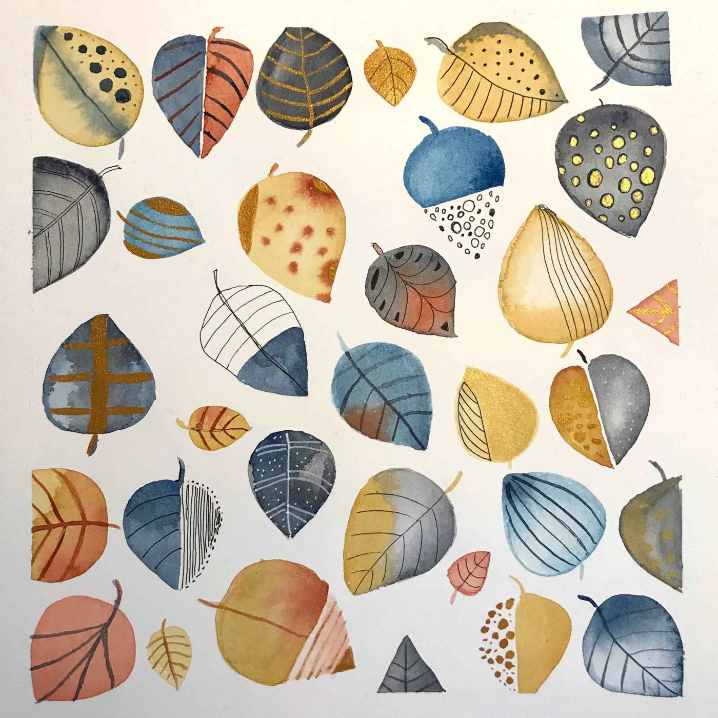 Leaf doodles in watercolours